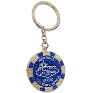 LV Blue Glitter Poker Chip Keychain