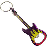 Las Vegas Yellow Guitar Bottle Opener Keychain
