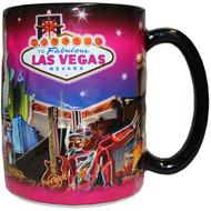 "LV Souvenir Mug ""Embossed Design"" -Pink Skyline 16oz."