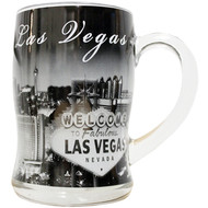 Clear Glass Souvenir Las Vegas Mug Black & White design - 12oz.