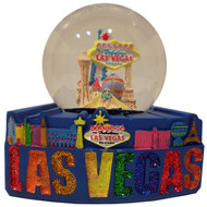 Las Vegas FUN Mounted Snowglobe- BLUE