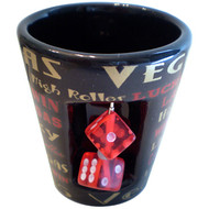 Las Vegas Black Shotglass with Spinner Dice