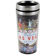 Las Vegas Hotel Collage Travel Mug Souvenir- 16oz.