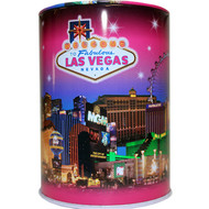 Tin Las Vegas Souvenir Savings Bank- Pink Skyline