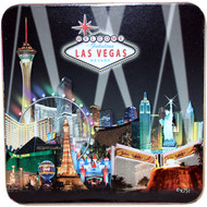 Las Vegas Black Spotlights Coaster Set of 4