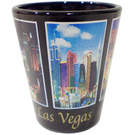 Las Vegas Black Shot Glass 5 Window Metallic Gold