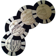 Round Metal Poker Chip Design Las Vegas Coaster Set of 4