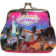 Las Vegas Coin Purse Pink Skyline Design