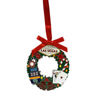 Las Vegas Wreath Metal Christmas Ornament