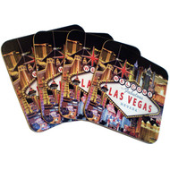 Las Vegas Hotel Collage Coaster Set-Cork