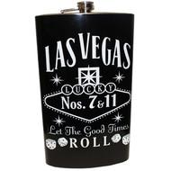 Jumbo Las Vegas Black Let The Good Times Roll Flask- 64oz.