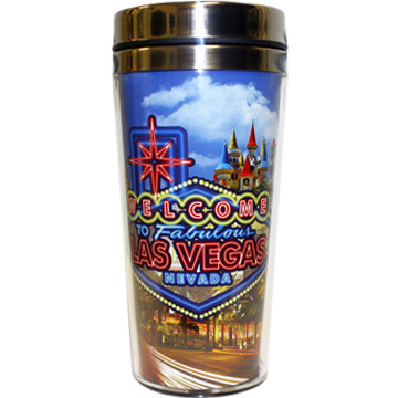 FRONT Las Vegas Neon Sign Travel Mug-16oz