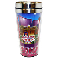 "Las Vegas ""Blue/Purple Collage"" Travel Mug Souvenir- 16oz."