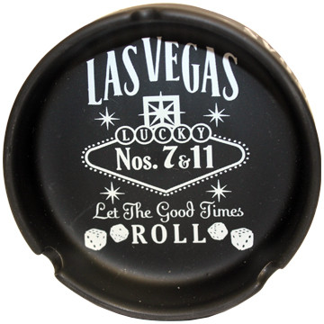 Black Ceramic Las Vegas Ashtray with our Let the Good Times Roll Design.
