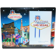 Glass Las Vegas Picture Frame Blue Skyline Design