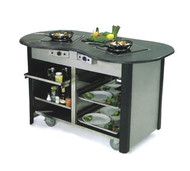 "Creation Station™ Mobile Cooking Cart, 60""W x 32""D x 35-3/4""H, (2) induction heat stoves, 2) adjustable removable pull-out shelves, (3) sets universal pan slides, stainless steel interior, laminated exterior, solid resin top with recessed area, includes bin, 5"" Lake-Glide® No-Mark® polyurethane swivel casters (2) with brakes, ETL"
