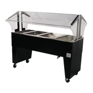 "Ice Cooled Portable Food Buffet Table, 62-7/16""W x 35""D x 53""H, double sided sneeze guard, accommodates (4) 12"" x 20"" pans inserts up to 6-1/4"" deep (with additional space below for ice), 8"" deep well, 1"" IPS drain, open base, black vinyl clad finish, (4) 5"" swivel casters (2) with brakes, NSF"