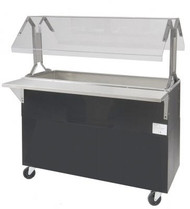 "Ice Cooled Portable Food Buffet Table, 47-1/8""W x 35""D x 53""H, double sided sneeze guard, accommodates (3) 12"" x 20"" pans inserts up to 6-1/4"" deep (with additional space below for ice), 8"" deep well, 1"" IPS drain, enclosed base, black vinyl clad finish, (4) 5"" swivel casters (2) with brakes, NSF"