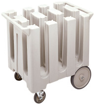 "Dish Caddies Cart, 32-5/8""W x 23-1/2""L x 31-3/4""H, poker chip design, non-adjustable, maximum dish size 5-3/4"", (6) columns, polyethylene construction, molded handles, (2) 5"" swivel casters with brakes and (2) 10"" easy wheels, includes vinyl dust cover, black, NSF"