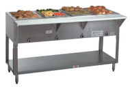 "Hot Food Table, electric, 62-3/8""W x 30-5/8""D x 34-3/8""H, (4) 12"" x 20"" wells (accommodates pan inserts up to 7-3/4"" deep), individual infinite controls, stainless steel top,  stainless steel 8""D support shelf with removable 3/8"" thick poly cutting board, galvanized open base with undershelf, UL, NSF (120v)"