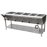 "Hot Food Table, electric, 77-3/4""W x 30-5/8""D x 34-3/8""H, (5) 12"" x 20"" wells (accommodates pan inserts up to 7-3/4"" deep), individual infinite controls, stainless steel top,  stainless steel 8""D support shelf with removable 3/8"" thick poly cutting board, galvanized open base with undershelf, UL, NSF (208-240v)"