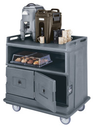 "Beverage Service Cart, flat top, 44-1/2""L x 30""W x 44""H, polyethylene construction, solid undershelf & (2) insulated compartments with latching doors, 6"" casters (2 fixed, 2 swivel, 1 with brake), granite gray, NSF"