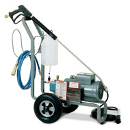"SMT-1100PE Portable Pressure Washer Cleaning System, 2.2gpm @ 1100psi, 115v, 2hp motor, 3 cylinder CAT plunger pump, adjustable chemical injector, 35' GFCI power cord, 30' steel-braided hi-pressure hose, hose hanger, 36"" spray gun assembly, Flo-Thru quick disconnects, 1100-psi max."