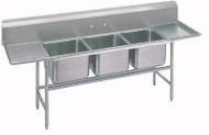 "Regaline Sink, 3-compartment, with left & right-hand drainboards, 20"" front-to-back x 16""W sink compartments, 14"" deep, with 11""H backsplash, stainless steel legs with welded front-to-rear & adjustable left-to-right cross rails, 24"" drainboards, 1"" adjustable bullet feet, 14 gauge 304 stainless steel, overall 27"" F/B x 103"" L/R, NSF"