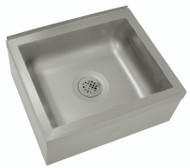 "Mop Sink, floor mounted, 25""W x 21""D x 10""H (overall), 20""W x 16"" front-to-back x 6"" deep (bowl size), free flow drain with 2"" IPS outlet, stainless steel construction"