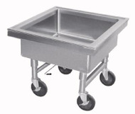 "Soak Sink, portable, 20"" working height, sink outlet fitted with quick-release drain, 22"" x 22"" x 8"" deep fabricated sink compartment, stainless steel construction, casters, accommodates 19-3/4"" x 19-3/4"" dishwasher baskets (by others)"