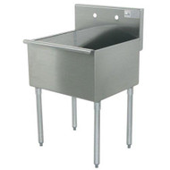 "Square Corner Scullery Sink, 1-compartment, 18""W x 18""D front-to-back x 14"" deep sink compartment, 8""H backsplash, 1-1/2 IPS waste drain basket included, 16 gauge 430 stainless steel, galvanized legs with plastic bullet feet, 21-1/2"" F/B x 18"" L/R (overall)"