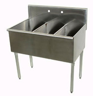 "Square Corner Scullery Sink, 3-compartments, 12""W x 21""D front-to-back x 14"" deep sink compartments, 8""H backsplash, 1-1/2 IPS waste drain baskets included, 16 gauge 430 stainless steel, galvanized legs with plastic bullet feet, 24-1/2"" F/B x 36"" L/R (overall)"