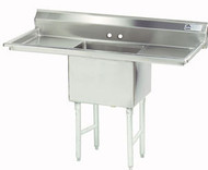 "Fabricated Sink, 1-compartment, 24"" right & left drainboards, bowl size 18"" x 18"" x 14"" deep, 16 gauge 304 stainless steel, tile edge splash, rolled edge, 8"" OC faucet holes, stainless steel legs with 1"" adjustable stainless steel bullet feet, overall 24"" F/B x 66"" L/R, NSF"