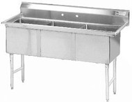 "Fabricated Sink, 3-compartment, no drainboard, bowl size 18"" x 18"" x 14"" deep, 16 gauge 304 stainless steel, tile edge splash, rolled edge, 8"" OC faucet holes, stainless steel legs with 1"" adjustable stainless steel bullet feet, overall 24"" F/B x 59"" L/R, NSF"