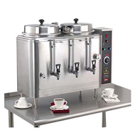 (102417) Coffee Urn, double, electric, (2) 3 gallon capacity tanks, pump style brewing system, solid state dual water level control, adjustable bypass, automatic agitator, solid state timer, side mounted control panel, silicone fittings, single-wall stainless steel construction, cETLus, NSF (Cecilware)