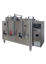 AMW™ Midline Heat Exchange Coffee Urn, double, electric, (2) 6 gallon capacity liners, fresh water heat exchange style brewing system, Teflon® coated spray arm, automatic refill, automatic coffee agitation, half/full batch capability, low water cutoff system, side mounted control panel, single wall insulation, 304 stainless steel construction with satin finish, UL, cCSAus, NSF (Grindmaster)