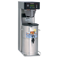 "41400.0000  Infusion Series® Iced Tea Brewer, 3 or 5 gallon capacity single brewer ( brews 16.3 to 26.7 gallon/hr), 29"" trunk, 3 recipe buttons, digital temperature control, brew counter, pulse interface, energy-saver mode, English & Spanish alphanumeric & advertising display, includes single button graphic overlay & Quickbrew & SplashGard® funnel, brews into BUNN tea dispensers (except TDS-5), 120v/60/1-ph, 1700w, 14amps, NEMA 5-15P, cord attached, UL, NSF. SHOWN WITH DISPENSER SOLD SEPARATELY."