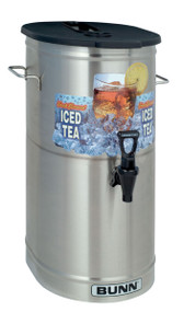 34100.0002  TDO-4 Iced Tea/Coffee Dispenser, cylinder style, 4 gallon capacity (15.1 litres), sump dispense valve, oval shape brew-through plastic lid, faucet handles are labeled sweetened & unsweetened, side handles, NSF