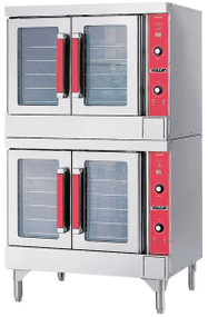"Convection Oven, electric, double-deck, standard depth, solid state controls, 60 minute timer, (5) nickel plated racks per oven, 8"" high legs, stainless steel front, top and sides, stainless steel doors with windows, (2) 1/2 HP, 12.5 kW each section, NSF, cUL, UL"
