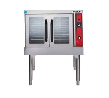 """Convection Oven, electric, single-deck, standard depth, solid state controls, 60 minute timer, 150° to 500°F temperature range, (5) oven racks, independently operated doors with windows, porcelain interior, stainless steel doors, front, top & sides, painted 25-3/4"""" legs, 1/2 HP, 12.5 kW, cUL, UL, NSF"""