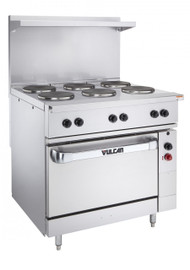 "Restaurant Range, electric, 36"", (6) 2.0 kW French hot plates, infinite controls, standard oversized oven, includes (1) rack, stainless steel front, sides, single deck high shelf & 6"" legs, 17.0 kW, 208v"