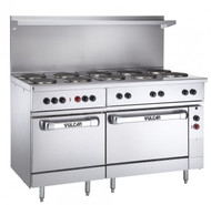 "Restaurant Range, electric, 60"", (10) 2.0 kW French hot plates, 9-1/2"" solid cast iron, infinite controls, (1) standard & (1) oversized oven with (1) rack each, stainless steel front, sides, single deck high shelf & 6"" legs, 30.0 kW, 208v"