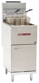 """Economy Fryer, gas, floor model, 65-80 lb. capacity, thermostatic controls, standing pilot, includes: (2) wire mesh baskets, tube rack, drain extension & removable basket hanger, stainless steel tank, door & front, 6"""" adjustable legs, 151,000 BTU, CSA, NSF"""