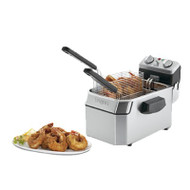 Deep Fryer, electric, counter-top, 10lb. capacity, 30-minute timer, hinged heating element, removable stainless steel tank, includes: (2) twin wire & (1) large single baskets with removable handles, night cover, 120v/60/1-ph, 1800W, NEMA 5-15P, UL, NSF