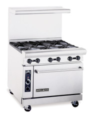 "Heavy Duty Restaurant Range, gas, 36"", (6) 32,000 BTU open burners, 26-1/2"" standard oven, includes (1) rack, stainless steel front, sides & high shelf, 6"" chrome plated legs, 67.0 kW, 227,000 BTU, ETL-Sanitation, NSF"