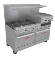 """Ultimate Restaurant Range, gas, 60"""", (6) non-clog burners, standard grates, (1) raised griddle/broiler right, standing pilot, (2) standard ovens with battery spark ignition, includes (1) rack per oven, 22-1/2"""" flue riser with shelf, stainless steel front, sides, shelf & 6"""" adjustable legs, 321,500 BTU, cCSAus, CSA Flame, CSA Star, NSF (Note: Qualifies for Southbend's Service First™ Program, see Service First document for details)"""