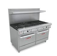 """Ultimate Restaurant Range, gas, 60"""", (10) non-clog burners, standard grates, standing pilot, (2) standard ovens with battery spark ignition, includes (1) rack per oven, 22-1/2"""" flue riser with shelf, stainless steel front, sides, shelf & 6"""" adjustable legs, 420,000 BTU, CSA, NSF (Note: Qualifies for Southbend's Service First™ Program, see Service First document for details)"""