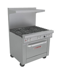 "Ultimate Restaurant Range, gas, 36"", (6) non-clog burners, standard grates, standing pilot, (1) standard oven with battery spark ignition, includes (1) rack, 22-1/2"" flue riser with shelf, stainless steel front, sides, shelf & 6"" adjustable legs, 243,000 BTU, CSA, NSF (Note: Qualifies for Southbend's Service First™ Program)"