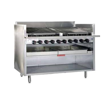 "Radiant Charbroiler, floor model, gas, 24"" wide, 34"" high, free floating round rod top grate with EZ tilt to front grease trough, stainless steel radiants, 95% stainless steel unit, 6"" service shelf with utility bar, water tubs, open cabinet base, 6"" adjustable legs, top grid scraper"