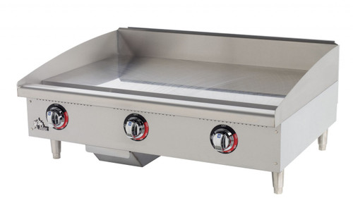 """(QUICK-SHIP) Star-Max® Heavy Duty Griddle, electric, countertop, 36"""" W x 20-3/4"""" D cooking surface, 1"""" thick polished griddle plate, 150°-450°F snap-action thermostat and 4000 watt element every 12"""", welded steel frame with stainless steel top and front, splash guard & grease trough, aluminized steel sides, chrome metal knobs, grease drawer, 4"""" steel legs, cULus, UL EPH Classified, CSA, Made in USA"""